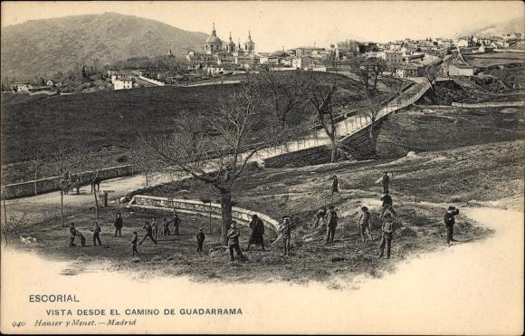 Ak San Lorenzo de El Escorial Madrid, Vista desde el Camino de Guadarrama