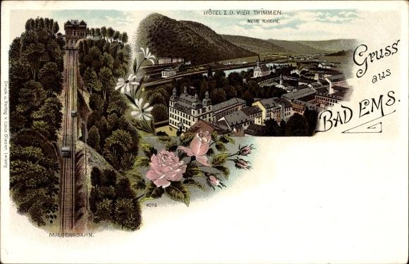 Litho Bad Ems im Rhein Lahn Kreis, Malbergbahn, Hotel zu den vier Türmen, Rosen