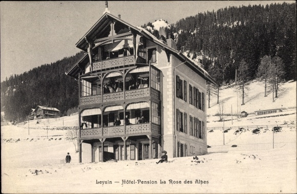 Ak Leysin Kt. Waadt Schweiz, Hotel Pension La Rose des Alpes, Winteransicht