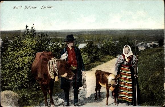 Ak Dalarne Schweden, Mann und Frau in schwedischen Volkstrachten mit Kuh und Kalb
