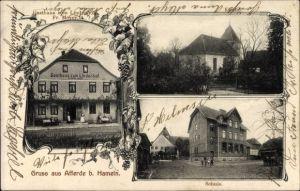 Ak Afferde Hameln in Niedersachsen, Gasthaus zum Lindenhof v. Friedrich Meyer, Kirche, Schule