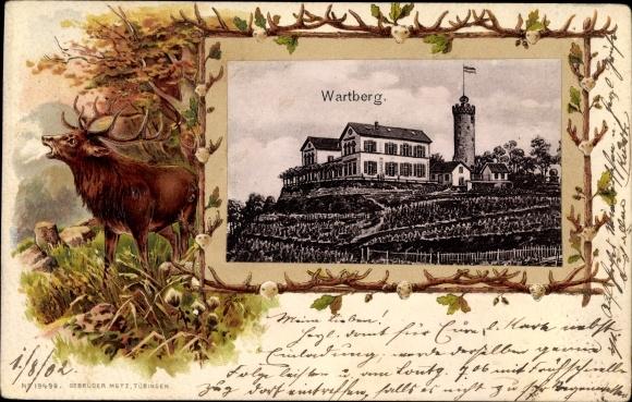 Präge Passepartout Ak Heilbronn in Baden Württemberg, Blick zum Wartberg, Hirsch