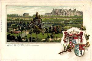 Präge Wappen Litho Ludwigshafen am Rhein Rheinland Pfalz, Blick auf den Jubiläumsbrunnen im Park