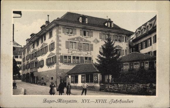 Ak Zug Stadt Schweiz, Zuger Münzstätte, Straßenansicht des Gebäudes