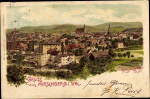 Künstler Litho Spindler, Erwin, Jelenia Góra Hirschberg Riesengebirge Schlesien, Panorama