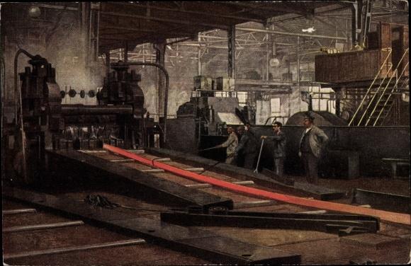 Künstler Ak Pohle, H. E., Werdegang der Eisenbahnschiene, Schienenwalzwerk, Arbeiter