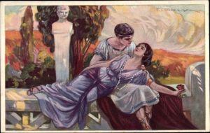 Künstler Ak Corbella, T., Frau in Armen eines Mannes, Rose, antike Gewänder