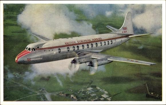 Ak Flugzeug der British European Airways, Fliegeraufnahme,  Rolls Royce Dart Propeller Turbines