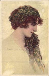 Künstler Ak Corbella, T., Frau mit Kopfband, Portrait