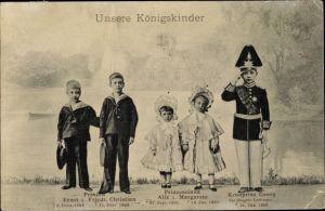 Ak Königskinder, Kronprinz Georg, Prinzen Ernst u. Friedrich Christian, Prinzessinen Alix, Margarete