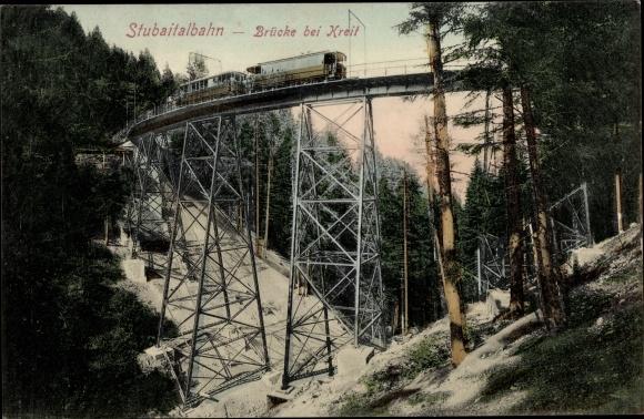 Ak Stubaitalbahn, Brücke bei Kreit