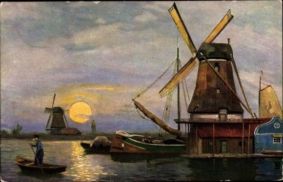 Künstler Ak Windmühlen im Mondschein, Boote