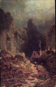 Künstler Ak Spitzweg, Carl, Landschaft, Haus, Felsen