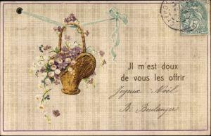 Präge Litho Glückwünsche, Blumenkorb an einer blauen Schleife