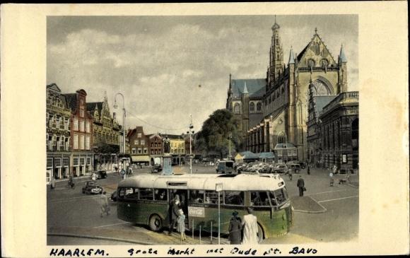 Ak Haarlem Nordholland Niederlande, Grote Markt mit Oude Kerk, Bus