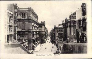 Ak Valletta Malta, Strada Reale, Straßenpartie
