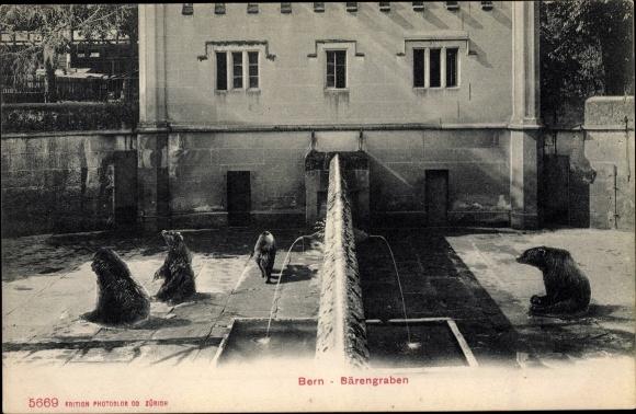 Ak Bern Stadt Schweiz, Bärengraben, Trinkbecken