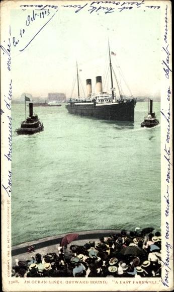 Ak Boston Massachusetts USA, An Ocean Liner, Outward Bound
