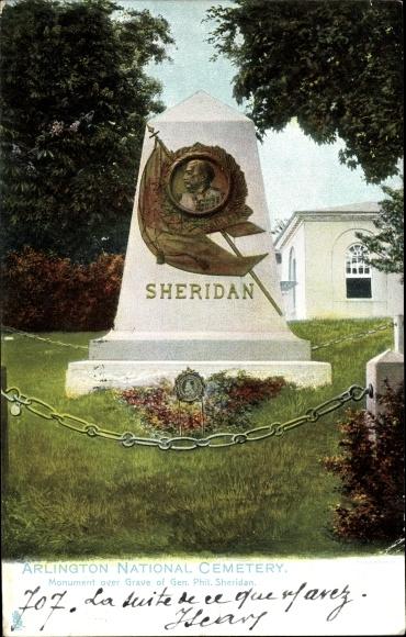Ak Arlington Virginia USA, Arlington National Cemetery, Monument, Gen. Phil. Sheridan