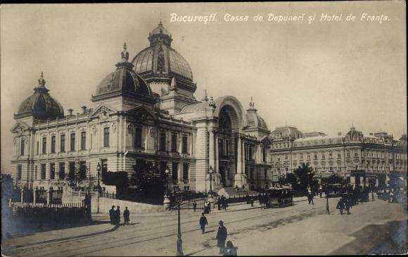 Ak București Bukarest Rumänien, Casa de Depuneri, Hotel de Franta