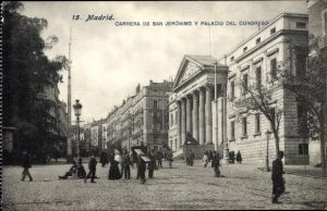 Ak Madrid Spanien, Carrera de San Jerónimo y Palacio del Congreso