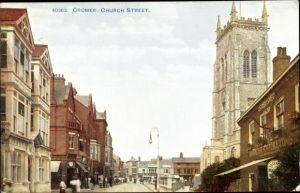 Ak Cromer Norfolk England, Church Street, Post Office