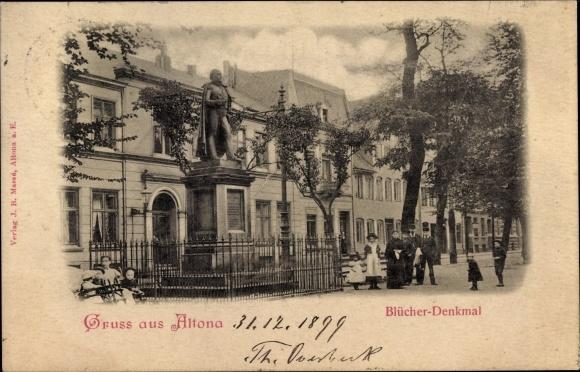 Ak Hamburg Altona, Blücher Denkmal