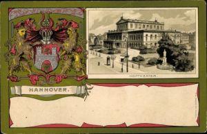 Präge Wappen Passepartout Litho Hannover in Niedersachsen, Hoftheater