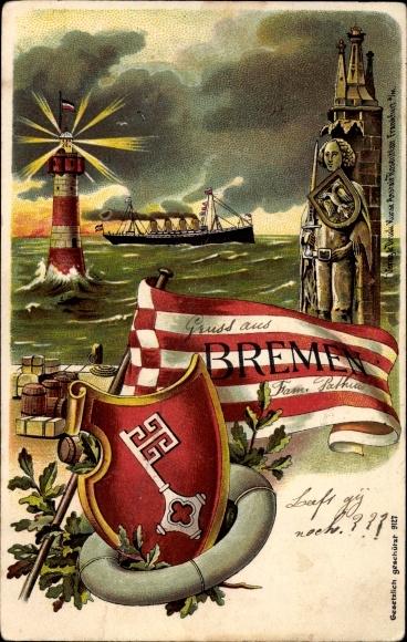 Wappen Litho Hansestadt Bremen, Roland, Leuchtturm, Wappen, Fahne, Rettungsring, Schiff