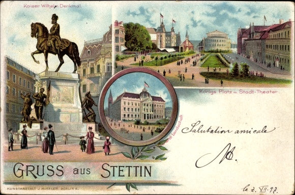 Litho Szczecin Stettin Pommern, Kaiser Wilhelm Denkmal, Königsplatz, Stadttheater, Generallandschaft