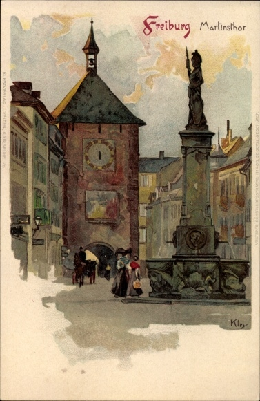 Künstler Litho Kley, Heinrich, Freiburg im Breisgau Baden Württemberg, Ansicht vom Martinstor