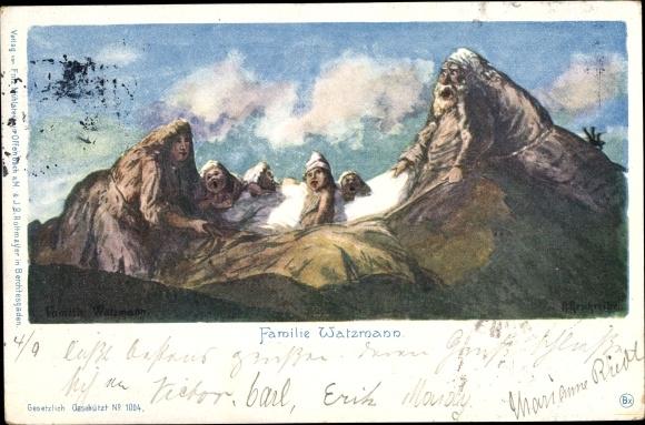 Künstler Ak Reschreiter, R., Familie Watzmann, Berggesichter