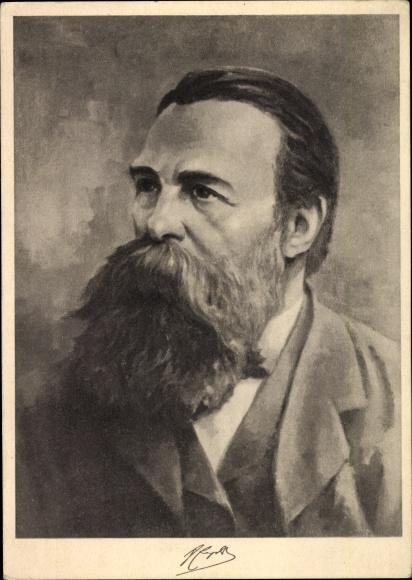 Künstler Ak Seckelmann, Hans, Philosoph und Gesellschaftstheoretiker Friedrich Engels