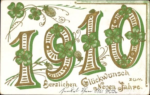 Präge Litho Glückwunsch Neujahr, Jahreszahl 1910, Kleeblätter