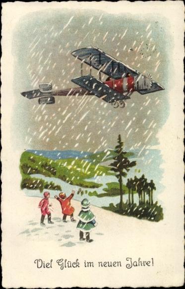 Ak Glückwunsch Neujahr, Kinder betrachten Doppeldecker, Schneefall