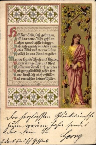 Litho Glückwunsch Neujahr, Hilf, Herr Jesu, lass gelingen, hilf das neue Jahr geht an