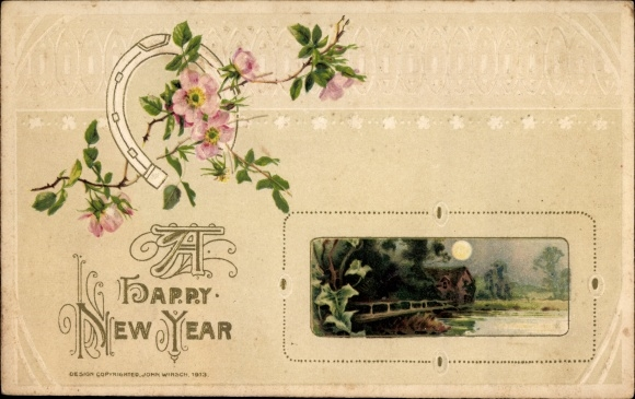 Präge Litho Glückwunsch Neujahr, Hufeisen, Heckenrose, Landschaft im Mondschein