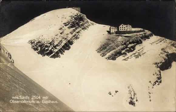 Ak Kt. Appenzell Innerrhoden Schweiz, Säntis, Observatorium und Gasthaus