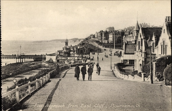 Ak Bournemouth Dorset England, Pier Approach from East Cliff