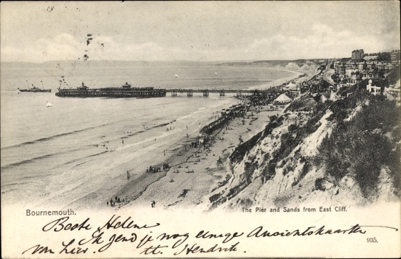 Ak Bournemouth Dorset England, The Pier and Sands from East Cliff