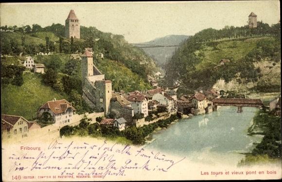 Ak Fribourg Kt. Freiburg Schweiz, Les tours et vieux pont en bois, Stadtpanorama