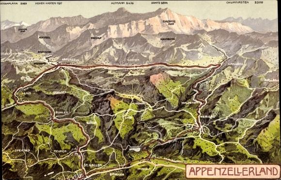 Landkarten Ak Appenzell Kt. Appenzell Innerrhoden Schweiz, Landschaftspanorama, Säntis, Kronberg