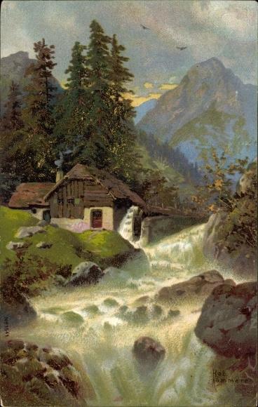 Künstler Litho Kämmerer, Rob., Wassermühle an einem Fluss, Gebirge