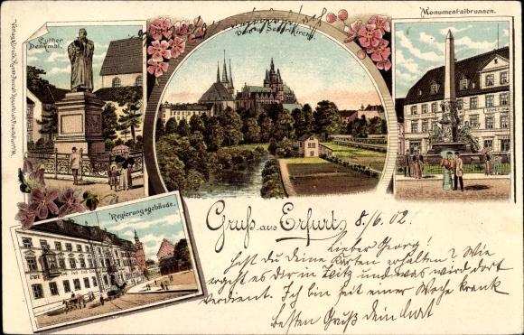 Litho Erfurt in Thüringen, Lutherdenkmal, Regierungsgebäude, Dom, Severikirche, Monumentalbrunnen