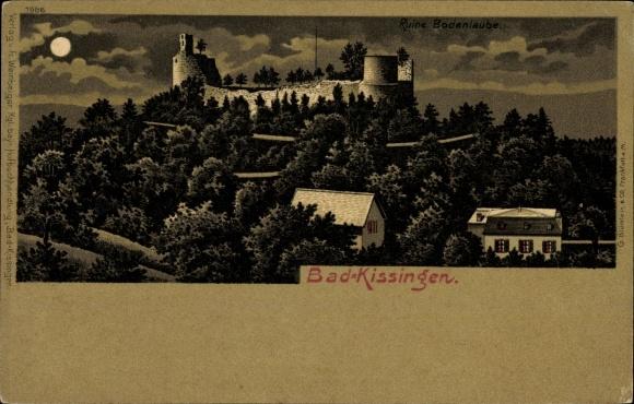 Mondschein Litho Bad Kissingen Unterfranken Bayern, Ruine Bodenlaube