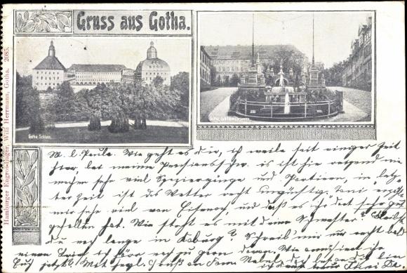 Passepartout Ak Gotha im Thüringer Becken, Schloss, Jubiläumsbrunnen