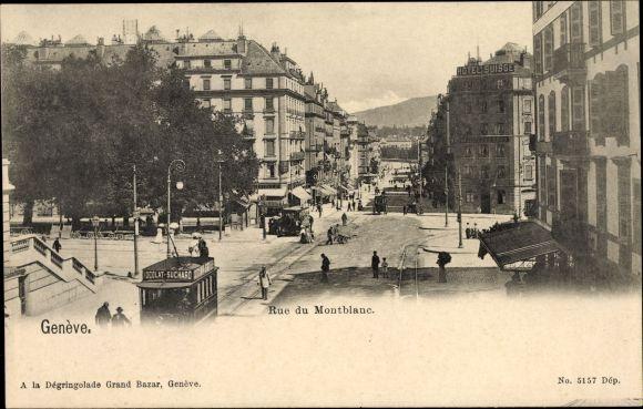 Ak Genève Genf Stadt, Rue du Montblanc, Straßenpartie