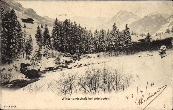 Ak Adelboden Kt. Bern Schweiz, Winterlandschaft