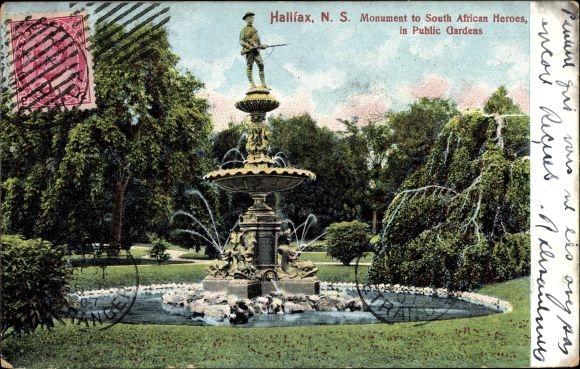 Ak Halifax Nova Scotia Kanada, Monument to South African Heroes in Public Gardens