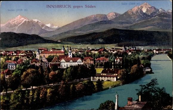 Ak Innsbruck in Tirol, Panorama vom Ort gegen Süden, Saile, Series